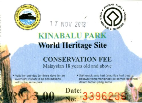 Need to pay ticket for Conservation Fee at the entrance of Kinabalu Park. RM3/person