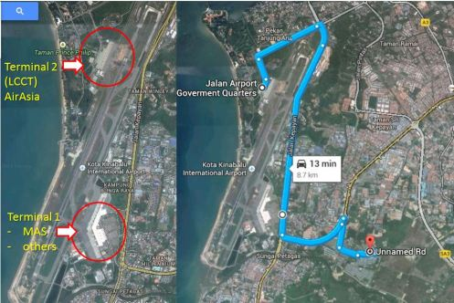 Terminal 2 KKIA is for AirAsia. From Terminal 2 to Cyber City Apartment 2 takes around 15 minutes